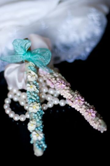 Bridal Collection Artisan Pretzel Adorned with Edible Pearls and Flowers Handmade Specialty...