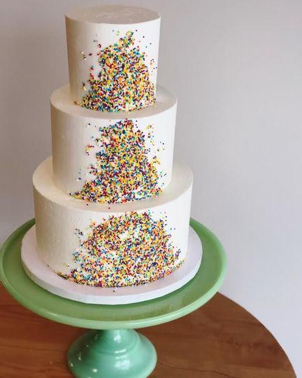 3-tier sprinkled wedding cake