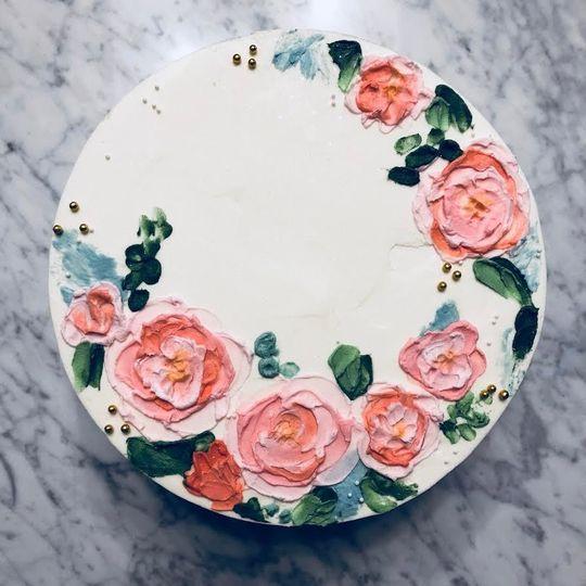 Floral wedding cake art