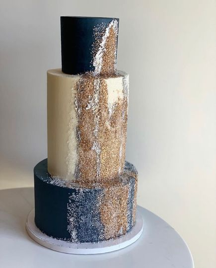 3-Tier Gold and Navy Cake