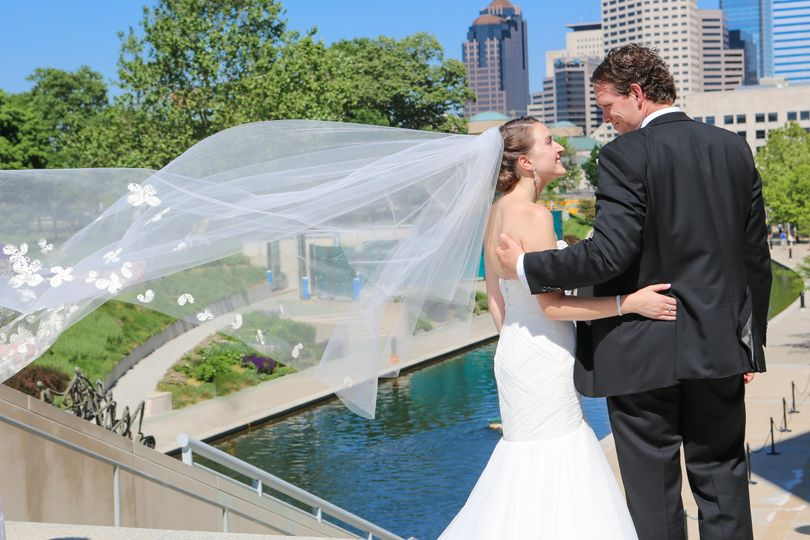 Karen + Bryan! Indy Cosmopolitan Wedding.  Anne Bargo Collection Wedding Dress & Veil.