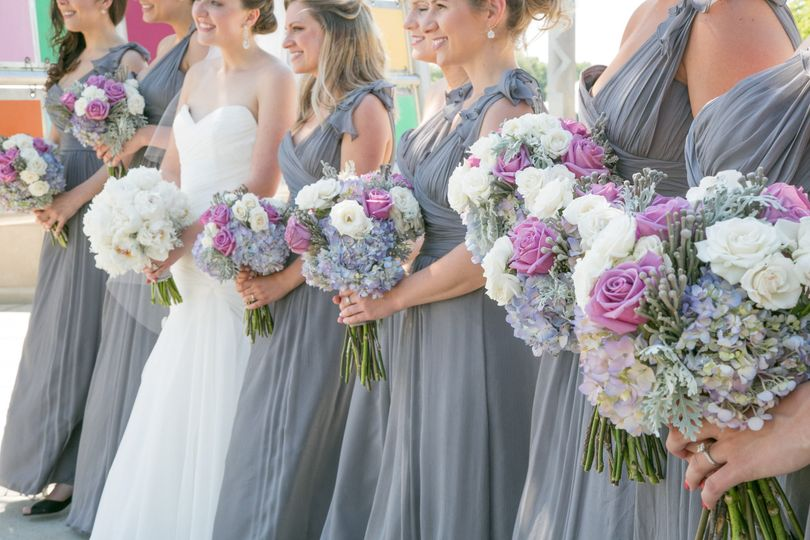Karen + Bryan.  Love the colors of the dresses and floral (McNamara Florist)