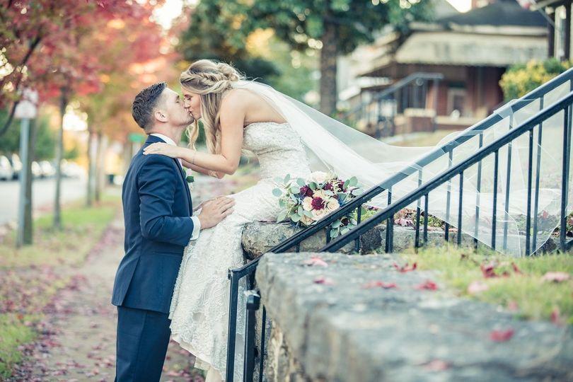 Newlyweds in fall