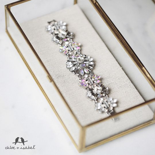 bridal collection crystal bracelet with hues of p