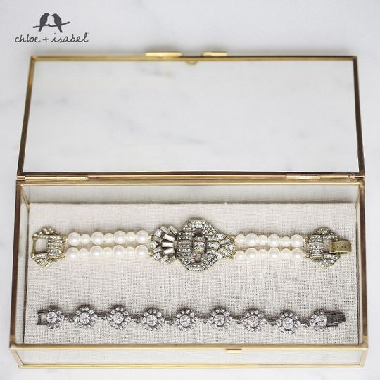bridal collection pearl heirloom bracet with crys