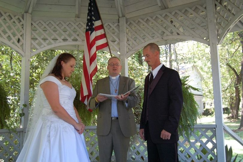 Wedding ceremony in a gazebo