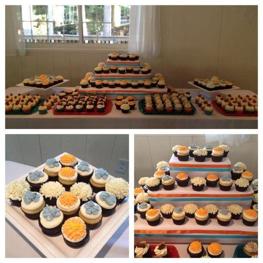 Cupcake display with custom buttercream flowers
