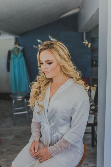 Bride in the dressing area