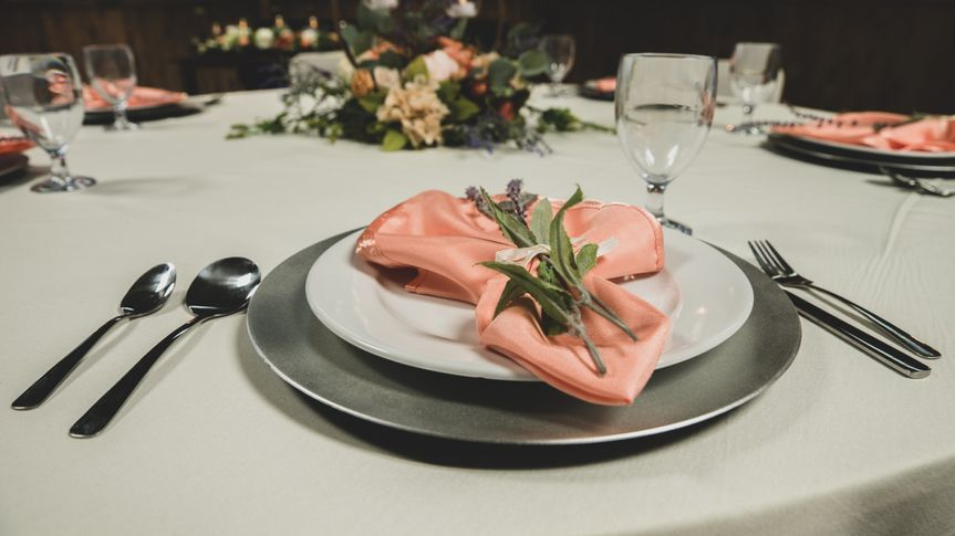 Lavender & Peach place setting
