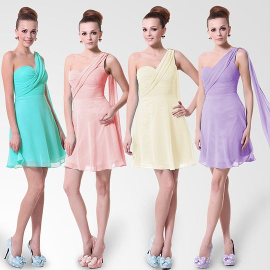 Short one shoulder bridesmaid dresses for petite girls.