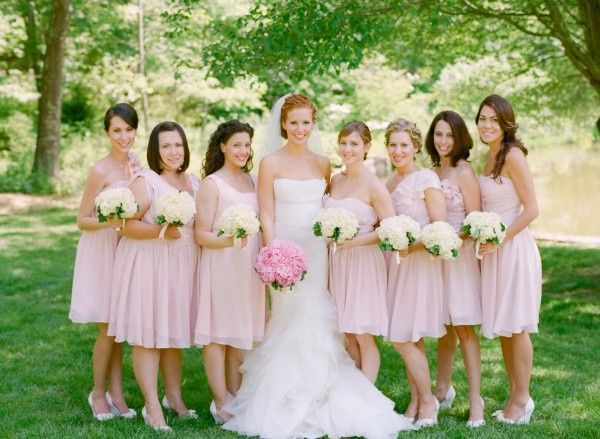 Pink bridesmaid dresses for young girls.