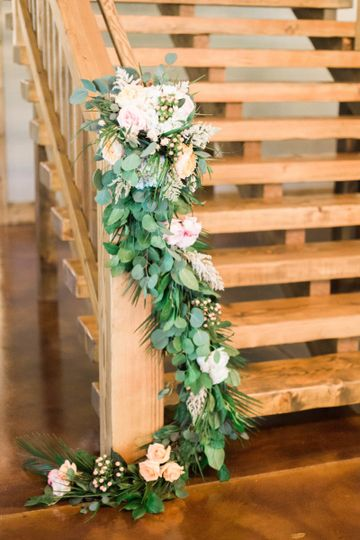 Wooden staircase with flowers