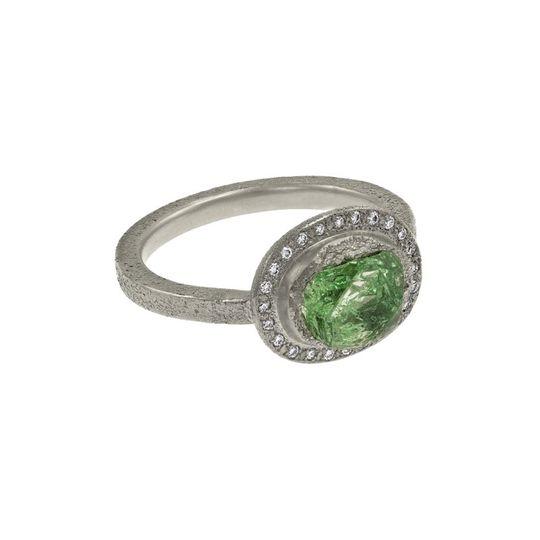Rough mint garnet ring