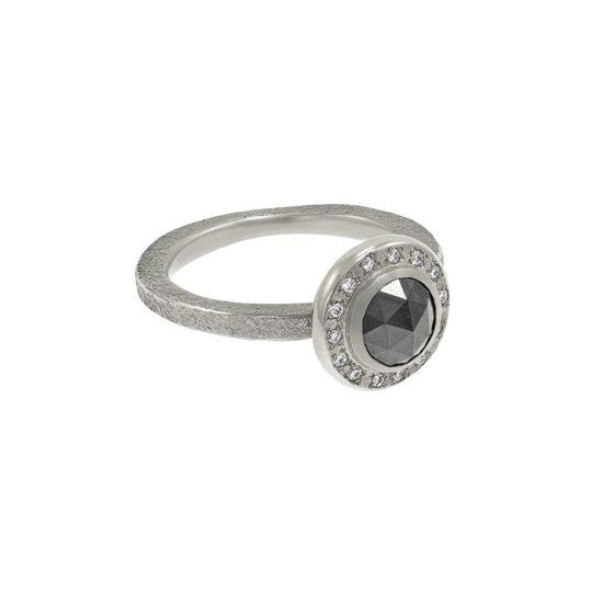 Rustic black diamond ring