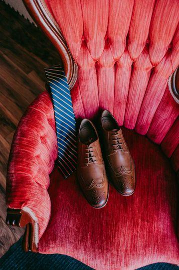 Wedding attire in red chair