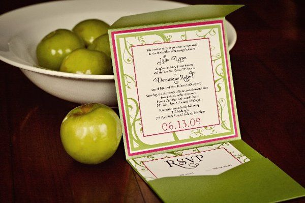 Tmx 1262277785799 GreenpinkpocketfoldLargeWebview Holland wedding invitation
