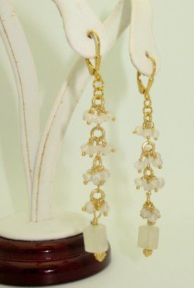 These lovely earrings are designed from Gold filled chain embellished with small moonstone drops....