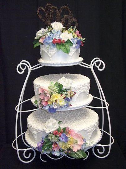 White scroll cake stand, $20.00