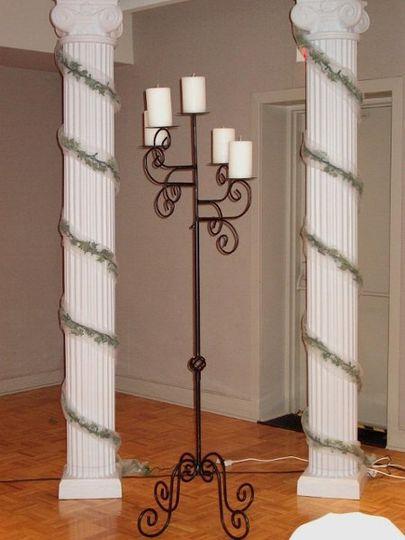 """96"""" pillar, $25.00 5 light black candelabra, $30.00"""