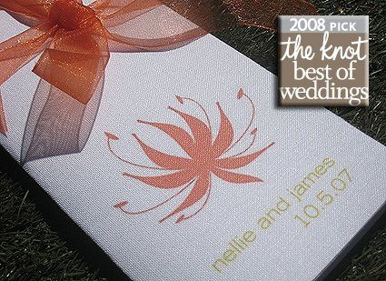Tangerine organza ribbon on a white linen tri-fold program, from our Contemporary Chic Collection....