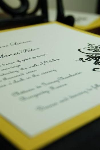 Is it possible?  Yes.  Tradition has been updated.  This couture invitation features a crisp black...