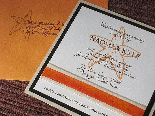 starfish beach wedding invitation, with hand-dyed silk ribbon trim.