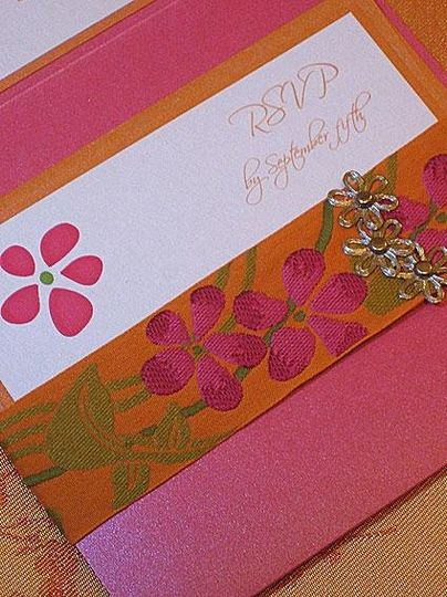 petals modern chic wedding invitation, with custom ribbon bellyband.