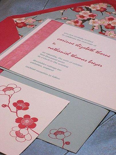 peony modern chic wedding invitation, with japanese paper envelope lining.