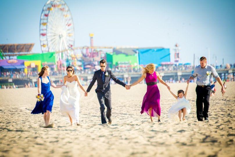 bridal party at santa monica pier