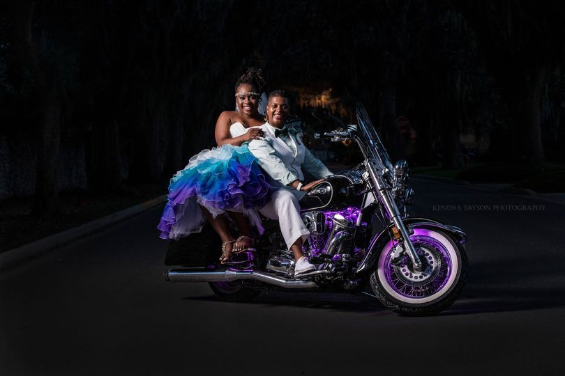 Two brides ready for a ride