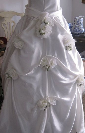 Princess Flowers in 100 percent ivory silk, this custom made strapless with princess cut and silk...
