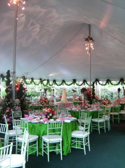 Subtle Hydrangea patterns were projected on the ceiling of the tent to provide a airy feeling in the...