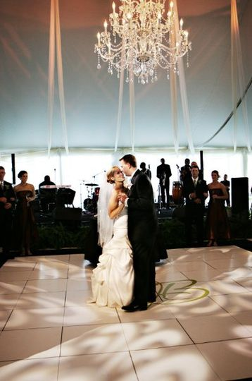Automated fixtures were used to highlight the newlyweds first dance as a married couple. The pattern...