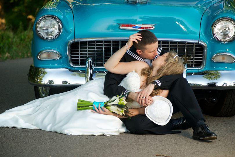 A vintage, sailor themed wedding in Ann Arbor at the Botanical gardens.