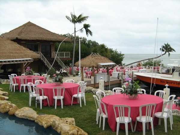 Pink round tables