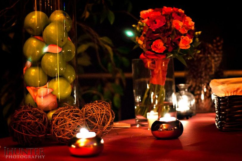 Table decors with candles