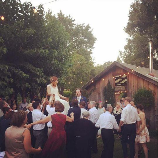 At a lively wedding celebration