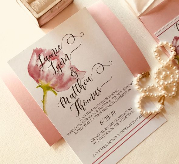 Closeup of wedding invite