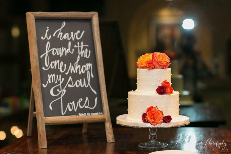 The white wedding cake