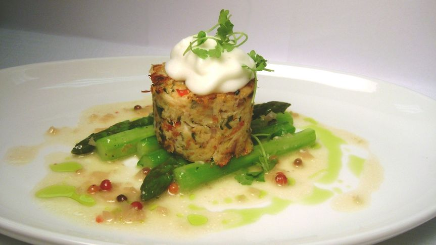 Pan seared crab cake with  lemon
