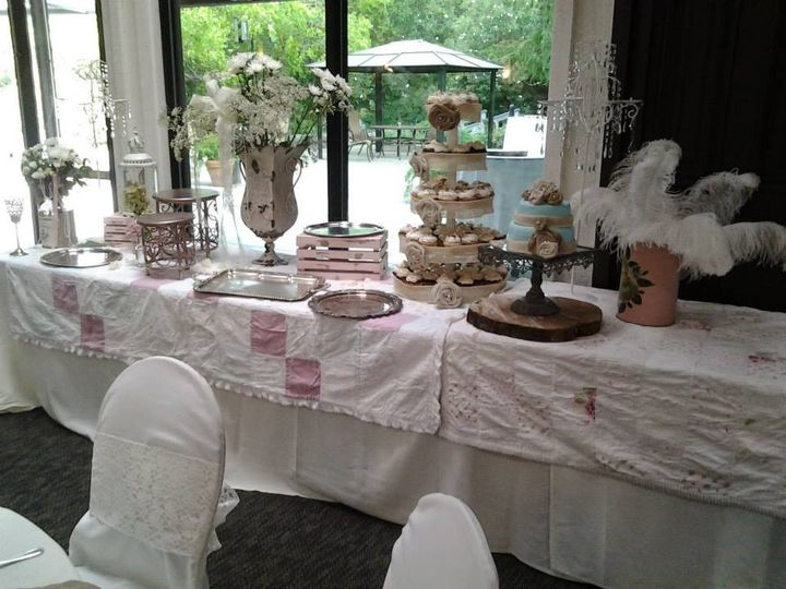 Cake and cupcakes table