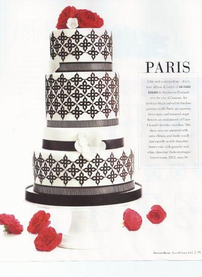 """""""Paris"""" cake by AK Cake Design  Oregon Bride Fall/Winter 2011 issue"""