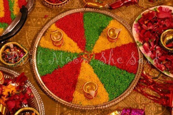 A Colorful Rice Platter at a South Asian Wedding