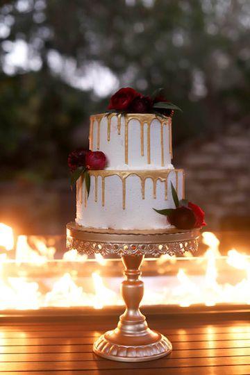 Gold drip cake