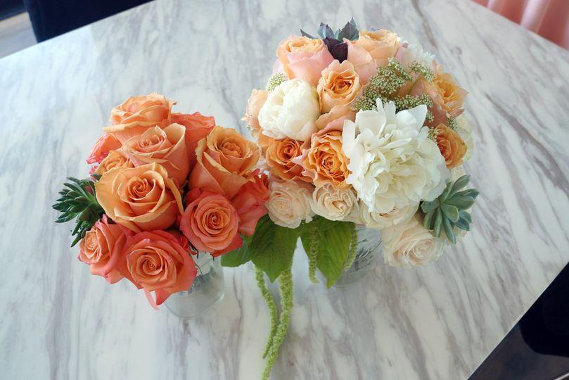 Peach bridal & moh bouquet