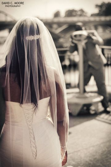 Bride with her veil