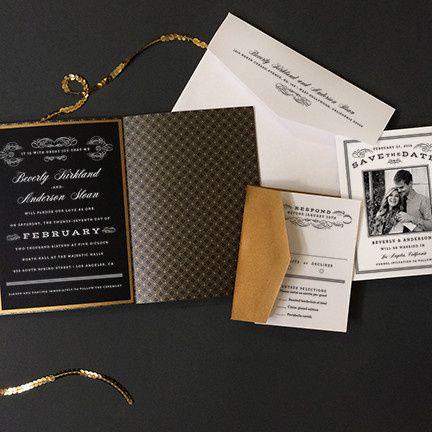scrolls and stripes wedding invitation