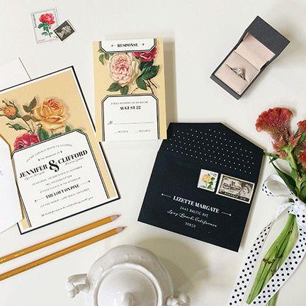 victorian roses wedding invitation