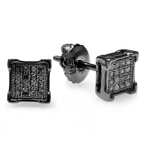Black rhodium plated earings
