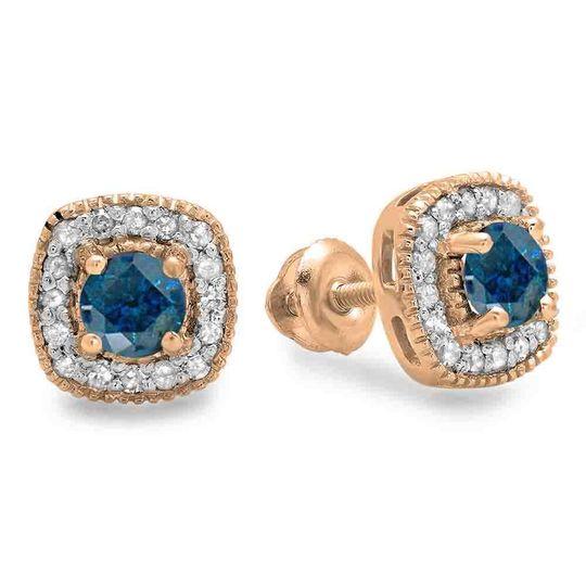Rose gold round cut blue & white diamond ladies halo stud earrings